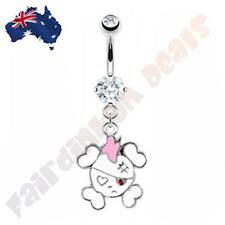 316L Surgical Steel White Gem Belly Rings with Sweet White Pirate Skull Dangle