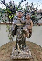 Saint Antoine en bois sculpté ( 17ème siècle ?) 60 cm