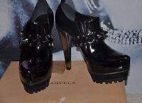 "PARTY "" KURT GEIGER""BLACK 100% LEATHER Shoe Boots Booties METALLIC  SPIKES 3 ,36"