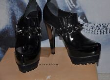 "PARTY "" KURT GEIGER""BLACK 100% LEATHER Shoe Boots Booties METALLIC  SPIKES 3 ,36"
