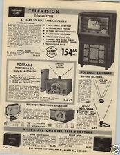 "1949 PAPER AD 7"" Automatic Radio TV Television"