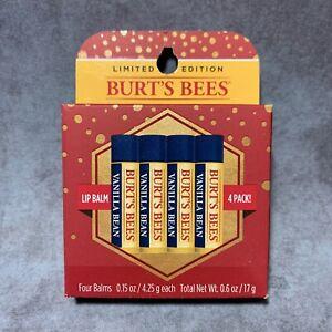 BURTS BEES 4 Pack Limited Vanilla Bean Moisturizing Lip Balm 100% Natural