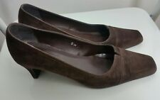 Womens Shoes Size 5 UK 38 EUR Suede Leather Brown Square Toe Heel Career Wear