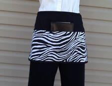 Black Animal Zebra server waitress waist Half apron 3 pocket restaurant