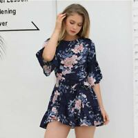 Evening floral beach summer boho cocktail sundress dress party short Women's