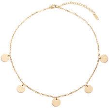 Happiness Boutique Kette mit Plättchen in Gold Halskette Runde Disk Anhänger