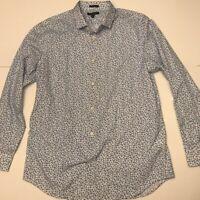 Banana Republic Mens Button Front Shirt White Geometric Long Sleeve Cotton XL