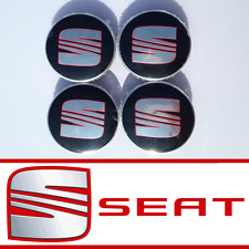 SEAT BLACK ALLOY WHEEL CENTRE HUB CAPS IBIZA LEON ALTEA ALHAMBRA TOLEDO 62mm
