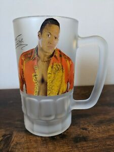 WWF WWE The Rock Dwayne Johnson Frosted Pint Glass 2000 Retro TV Merchandise