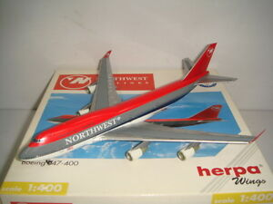 """Herpa Wings 400 Northwest Airlines B747-400 """"1990s color - Bowling Shoes"""" 1:400"""