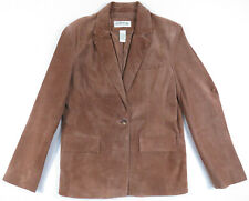 Orvis Leather Suede Leather Camel Tan Brown Womens Button Coat Blazer Jacket M