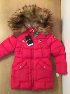 Phorecys Girls Winter Outerwear Butterfly Pattern Padded Coats with Faux Fur Hood 2-10 Years