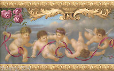 Victorian Architectural Antique Molding Angels Cherubs Roses Wallpaper Border