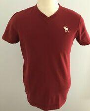 Abercrombie & Fitch Men's Maroon Short Sleeve V-Neck T-Shirt Size: L