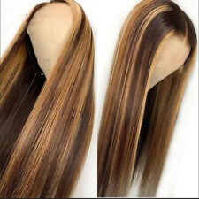 Fashion Women Lace Front Straight Long Wig Light Brown Synthetic Hair Full Wigs
