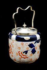 More details for vintage  arthur woods and sons imari ceramic epns biscuit/ tea barrel...