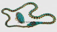Natural Turquoise Rose Cut Diamond 18k Gold Sterling Silver Snake Necklace