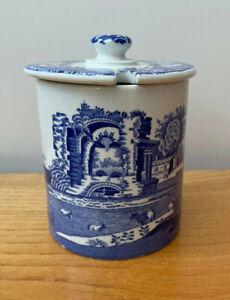 Spode - Italian - Ceramic Lidded Preserve Pot - Blue & White - M4