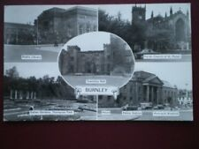 POSTCARD RP LANCASHIRE BURNLEY - C1960 MULTI VIEW - LIBRARY - POLICE STATION - C