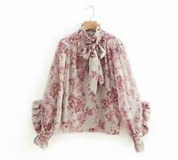 Occident Womens Long Sleeve Floral Printed Shirts Falbala Tops Blouses spring SZ