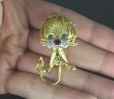 $4,950 Hammerman Brothers 18K Yellow Gold Green Emerald Ruby Diamond Lion Brooch