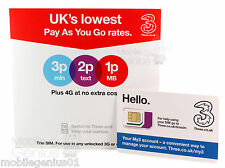 Tre 4G PAYG nano / micro / standard TRIO SIM CARD PAY as you go 3 Combi SIM