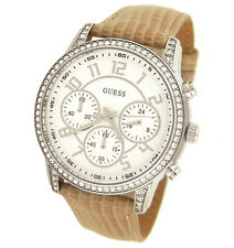 New Authentic GUESS Lizard texture leather Strap Chrono Women Watch U13602L2