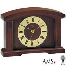 AMS Horloge de table 5138/1 radio-piloté noyer couleur bois massif Verre minéral