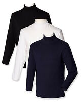 Plain BLACK WHITE DARK BLUE Mens Long Sleeve Cotton Roll Polo Turtle Neck Top