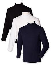 Plain BLACK WHITE DARK BLUE Mens Long Sleeve Cotton Roll Polo Turtle Neck Top