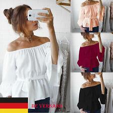 Damen Chiffon Carmen Rüschen Sleeve Schulterfrei Tops T Shirt Bluse Tunika Hemd
