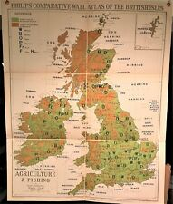 Antique world wall maps ebay 1921 orig philips comparative wall atlas british isles agriculture fishing map gumiabroncs Images