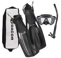 SCUBA Diving & Snorkeling Package- Dacor Mariner Fins, Mask, Snorkel w/ free bag