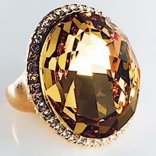 USA New RING use SWAROVSKI CRYSTAL Fashion Gemstone Gold Brown Jewel Size 6