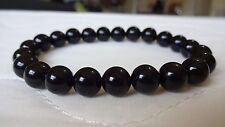 Genuine Black Onyx Bead Bracelet for Men or Women (On Stretch) 8mm AAA - 7.5""