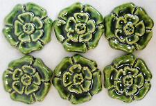 ROSETTE TILES Handmade Ceramic Stoneware Art Craft Tiles HOLLY GREEN Set of 6