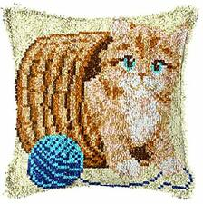 """Latch Hook Complete Cushion Cover Kit """"Kitten and Wool""""43x43cm"""