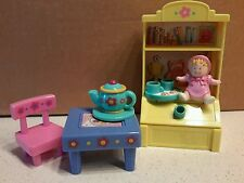 Fisher Price Loving Family Mattel Dollhouse Playroom FlipTable Cocoa Teapot Baby