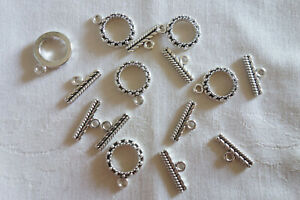 10 Antique Silver Toggle Clasps 20mm x 15mm Bar 18mm #0333 Beading Craft