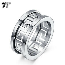TT 10mm Silver Hollow Greek Key Stainless Steel Band Ring (R369S) Size 9 NEW