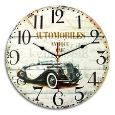 Large 30cm Wooden Wall Mounted Clock Shabby Vintage Home Antique Style Decor