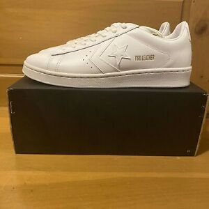 Converse Men's Pro Leather Low 168871C Triple White and Gold Shoes Size 9.5