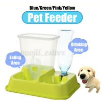 2 in 1 Automatic Pet Food Drink Dispenser Dog Cat Feeder Water Bowl Dish