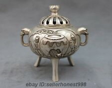 Chinese White Copper Silver Sima Guang drop tank Elephant head Buddhism Censer