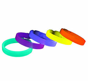 """Pack of 15 8"""" Assorted Colour Triple Wide Glow Sticks/ Bracelets with Connectors"""