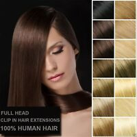 12''-26'' Clip In 8 Pieces Real Remy Human Hair Extension Full Head Double Weft