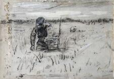 Anton Rudolf Mauve Paysans au champs encre et lavis Ecole de La Haye 24x35cm