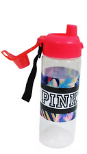 VICTORIA'S SECRET PINK FLORAL CORAL CLEAR LARGE TO GO WATER BOTTLE W/HANDLE 32OZ