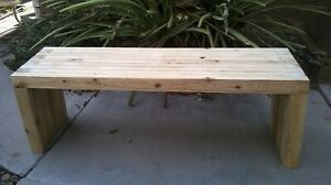 Reclaimed wood bench or coffee table with folding legs, natural pine or antique