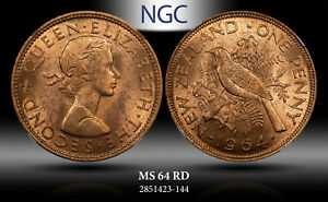 1964 NEWZEALAND PENNY NGC MS 64 RD #A